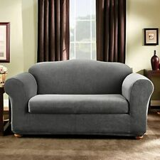 Stretch Stripe 2 piece Sofa Slipcover Box Cushion in Gray
