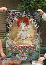 """36"""" Tibet Buddhism Silk Cloth White Tara Goddess Thangka Painting Mural"""