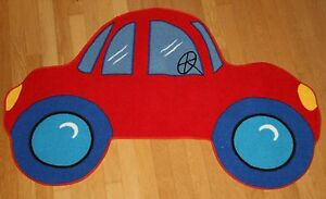 "Fun Rugs Red Car Rug Kids Room 39"" x 58"" Nylon Area Play Fun Time"