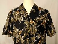 Hawaii Blues Shirt Vintage Mens XL Hawaiian Style Button Up Floral Palms Coconut