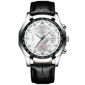 FNGEEN Stainless Steel Case Leather Strap White Face Watch