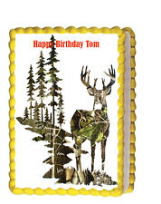 Camo Deer Hunting Party Birthday Edible Cake Topper 1/4 frossting sheet