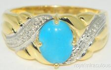 Turquoise & Diamond Ring 14K Yellow Gold Mount