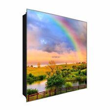 """Schlüsselkasten """"Regenbogenzauber"""" DEKOGLAS 30x30 aus Glas, Flur Wand modern"""