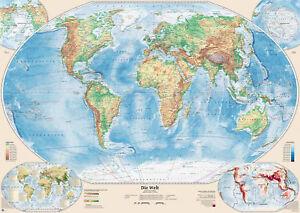 Physische Weltkarte mit 4 Nebenkarten, 140x100 cm, deutsch