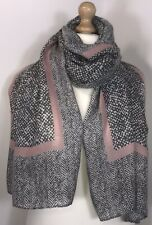 NEW Grey Pink Scarf Pashmina Softest Feel Harringbone Design Oversized Stunning