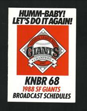 San Francisco Giants--1988 Pocket Schedule--KNBR/Budweiser