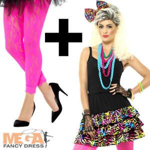 1980s Party Girl Kit + Leggings Dancer Ladies Fancy Dress Neon Womens Costume