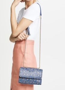 NWT AUTH TORY BURCH LEATHER FLEMMING CONVERTIBLE SHOULDER BAG-WILD BLUE PANSY
