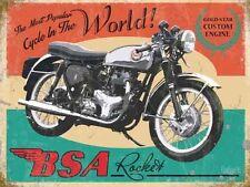 BSA Rocket Motorcycle, Gold Star Engine Vintage, Medium Metal Tin Sign