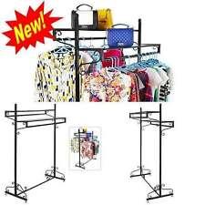 Double Bar Rack Shelf Clothes Garment Display Boutique Hanging Shelves Shirts