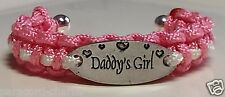 Daddy's Girl 1 size fits all Handmade Rose Pink with White Line Paracord Bangle