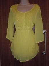 M & S Per Una Yellow Chiffon Blouse with Sequins & Embroidery Size 12UK BNWOT