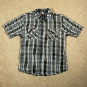 Dickies Shirt Men's Extra Large Blue Green Casual Short Sleeve Button Up