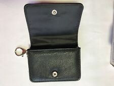 "Black Top Grain Leather Keychain/Cardholder Organizer Holds 1"" Deep Holds Lots!"