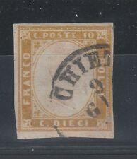 FRANCOBOLLI 1862 SARDEGNA C. 10 GIALLO OLIVASTRO Z/3922