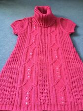 GIRLS ADAMS POLO NECK CABLE KNIT DRESS WITH BLING AGE 9 Ex Con