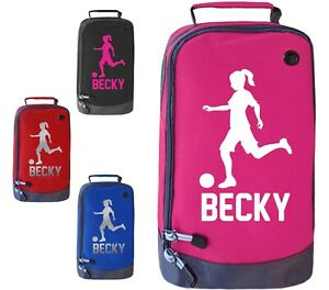 Personalised Girls Football Boot Bag Kids Footballer Sports School Pe Kit Gift