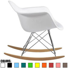 White Mid Century Modern Vintage Molded Shell Plastic Rocking Chair