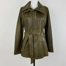 Marc New York Womens Jacket Coat Green Snap Lined Collared Belted Leather L