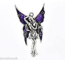 PD:10 Charms Anhänger Antiksilber Emaille Fee Engel Schmetterling Flügel 48x27mm