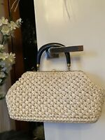 Vintage Raffia Bag Clasp Cream Natural 60s' Great Condition Italy Ritter Brand