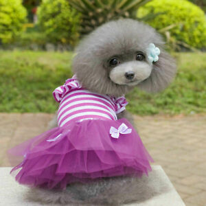 Summer Dog Puppy Cat Pet Clothes Dress Striped T-shirt Jumper Vest Skirt Coat