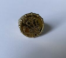 More details for royal mint gold sovereign on 9ct gold ring - 1982