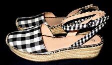 "NEW  **FRANCO SARTO**  Black/White Check Fabric, 1 3/4"" Hemp Wedge Heel , 8M"