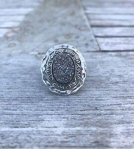 Titanium Druzy 925 Sterling Silver Ring Jewelry s.7.5JJ11902