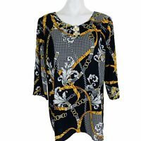 TACERA Black Multi Women Blouse. Size XL. New With Tags