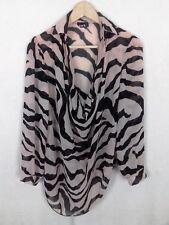 Zack London Size 10 Nude Pink Black Striped Asymmetric Drape Chiffon Blouse Top