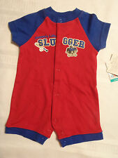 Okie Dokie 0-3 Month Baby Boys Red One Piece Cotton Outfit NWT Mommys Slugger