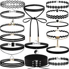 15 pcs choker set Black girls/womens necklaces Velvet charm bead Gothic pendant