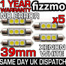 5x ERROR FREE CANBUS 3 SMD LED 39mm 239 272 C5W XENON WHITE NUMBER PLATE BULB UK