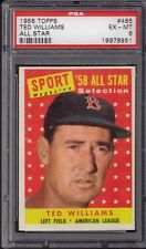 1958 Topps Set # 485 Ted Williams All Star PSA 6