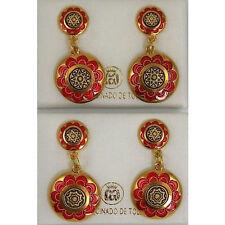 Damascene Gold Red Enamel Star of David Drop Earrings by Midas Toledo Spain 8121
