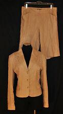 2pc Antonio Melani Tan Linen Career Casual Summer Short Suit Blazer Jacket 10