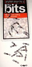 ANYFISH ANYWHERE 15 x MEDIUM DIAMOND EYE ROLLING SWIVELS, BEACH TRACES