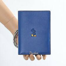 NWT Coach x Disney Mickey Mouse Leather Passport Travel Case 93600 Blue RARE