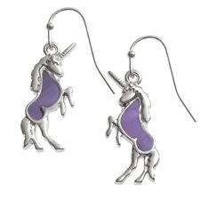 Purple Mother of Pearl Shell Unicorn Silver Dangle Hook Earrings