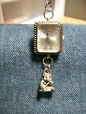 CUTE GENEVA NECKLACE WATCH WITH PANDA PLAYING FLUTE CHARM SILVER TONE RUNS GOOD