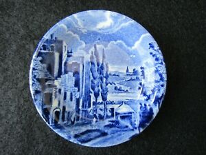Vintage Blue Butter Pat Grindley Staffordshire England Scenes After Constable