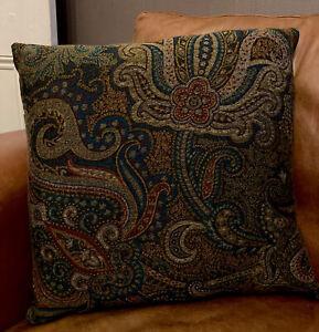 2 De Le Cuona Dragonfly Cushion Covers Malachite Teal Grey Gold Paisley Velvet