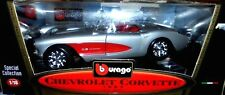car 1/18 BBURAGO 3034 CHEVROLET CORVETTE 1957 MET SILVER/RED NEW BOX