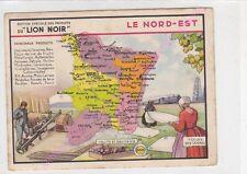 Chromo LION NOIR CARTE GEOGRAPHIQUE LE NORD EST