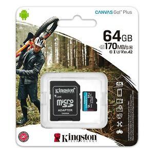 Kingston MicroSD SDCG3/64 128 256 512G MemoryCard CanvasGo Mobile Cams Drones 4K