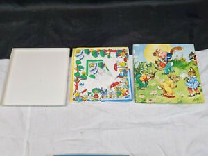 Vintage Boxed Set of 3 Irish Linen Handkerchiefs with Animal Characters at Play