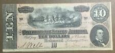 1864 $10 Us Confederate States of America! Old Us Currency! Choice Crisp Vf!