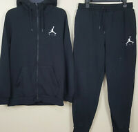 NIKE AIR JORDAN FLEECE SWEATSUIT HOODIE + PANTS BLACK WHITE RARE (SIZE MEDIUM)